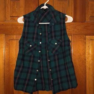 F21 plaid flannel button-down vest